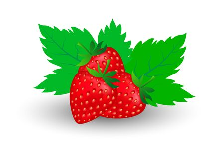 three ripe strawberries and two leaves behind with a white background, flat design. vector illustration