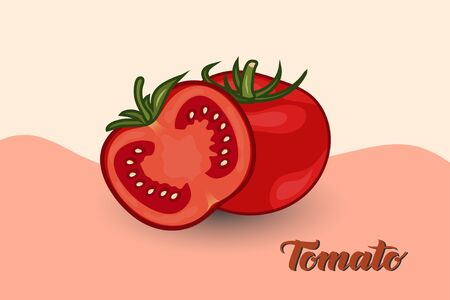 Ripe tomatoes with tomato pieces in front of them with a background of a combination of two different colors, flat design. vector illustration