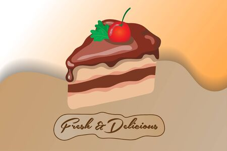 a piece of chocolate tart with cherry topping and two strands of mint with a flat design. vector illustration