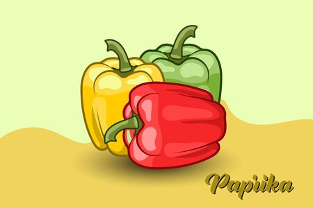 three red, yellow and green paprika with a background of two different colors, flat design. vector illustration Ilustracje wektorowe