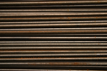 Black metal pipe steel sort stacked