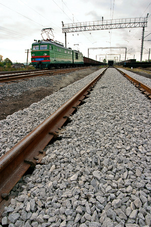 Import, Export, Logistics concept - Cargo train platform with freight train container at depot use for Import, Export, Logistics background