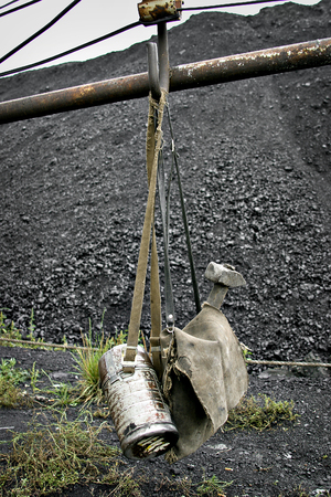 Mining tools on a background of coal in Russia Stock Photo