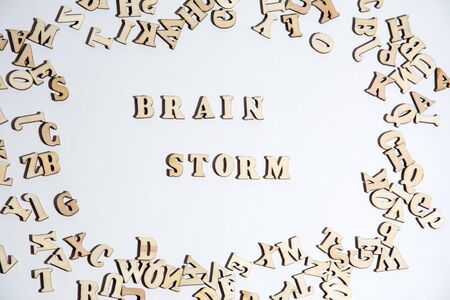 Words brain storm written on white background with the letters.