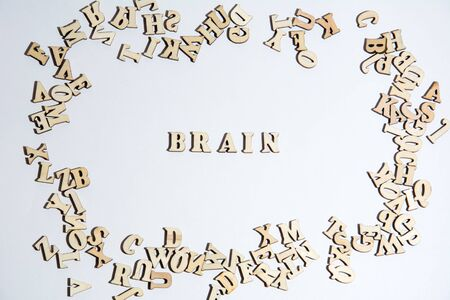 Words brain written on white background with the letters.