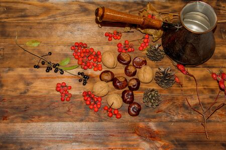 Hand drawn thanksgiving for decorative design. Harvest festival. Clay turka, ashberry, pine cones, berries, walnuts, chestnuts on wooden Dark rustic background.