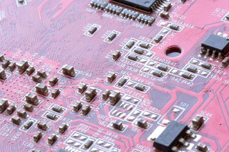 Microchip of the electronic control unit. Cpu chipset on printed circuit board.
