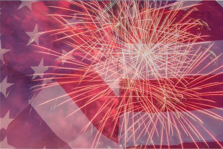 Fireworks on the American Flag background. Close up of an USA flag with fire texture. USA - Independence day - 4th of July