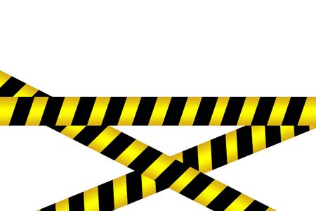 Black and yellow caution striped tapes crossed barrier tapes isolated on white background. Police Stripe Caution Border.