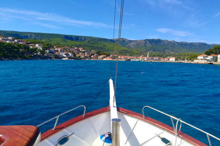 View from the boat at shore. Adventure travel concept background Фото со стока