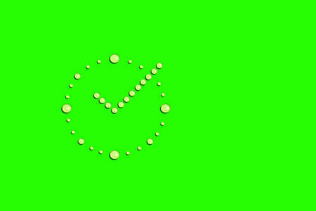 Water drops liquid in shape of alarm clock. Watch device for measuring time. Light green background with copyspace. Concept of morning freshness, dew drops on grass
