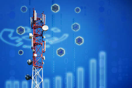 Base Station Telecommunication tower. Wireless Communication Antenna Transmitter on blue background with copyspace. 4g or 5G Network Connection. Coverage area and signal strength concept