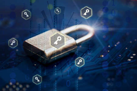 Closed security lock on digital technology background. Business, Cyber Security, unauthorized access, web technology, internet and networking concept. Selective soft focus