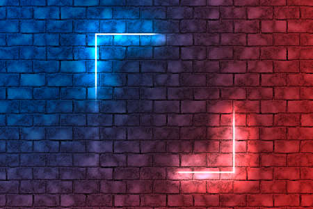Red and blue neon light angles on brick wall background. Dark empty room Фото со стока