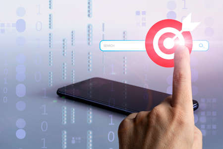 Businessman hand touching search bar of internet browser. Search target. Data Information Networking and business technology concept Фото со стока