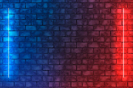 Neon light lamps on brick wall background. Red and blue abstract dark background Фото со стока