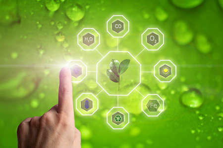 Human hand finger select icon with image of water drops. Influence and role of solar energy, air temperature, oxygen, humidity, and mineral fertilizers on plant growth rates and yield
