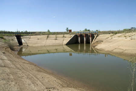 reclaiming: In the hot summer in for the Volga areas of the Saratov area of the river and a water basin strongly dry up. Stock Photo