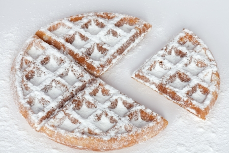 powdered sugar: Waffles in powdered sugar