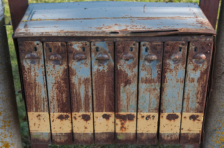 letter box: Old rusted letter box. Stock Photo