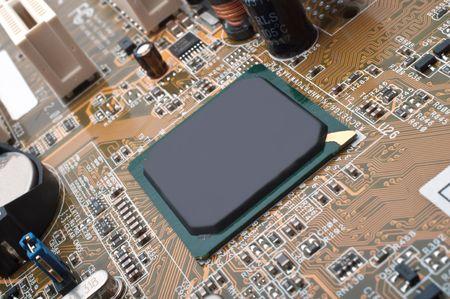 Macro photo of computer motherboard detail