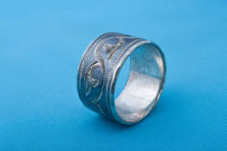blacking: Old ring with blacking and stamping.