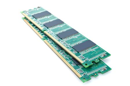 dimm: Two modules of memory are isolated on a white background  Stock Photo