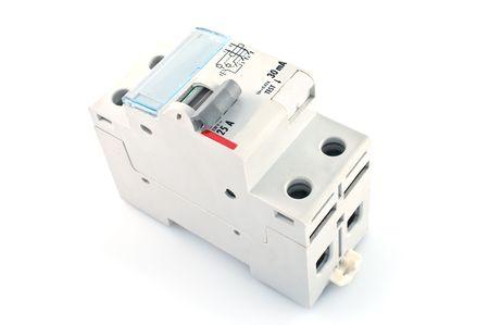 circuito electrico: Interruptor de circuito autom�tico, aislado en un fondo blanco.
