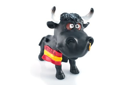 spanish bull: Angry bull on white background Stock Photo