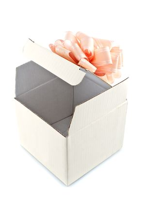 Gift box with rose-colored ribbon,isolated white background Stock Photo - 6948874