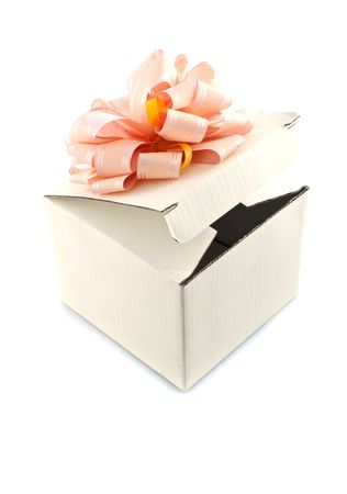 Gift box with rose-colored ribbon,isolated white background Stock Photo - 6948749