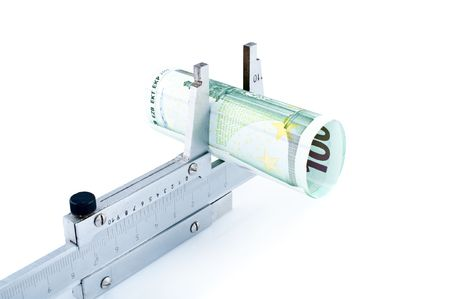 Measuring euro banknotes with  calipers,isolated on white. photo