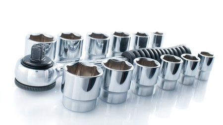 handtools: Set of chromeplated wrenches, on a white background