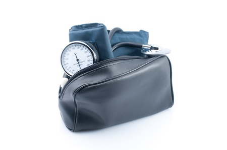 The medical device for blood pressure measurement on white background photo