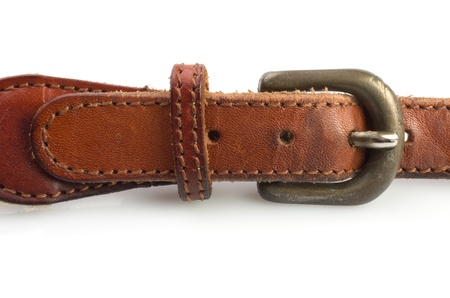 clasp: Leather belt and fastener on white background Stock Photo