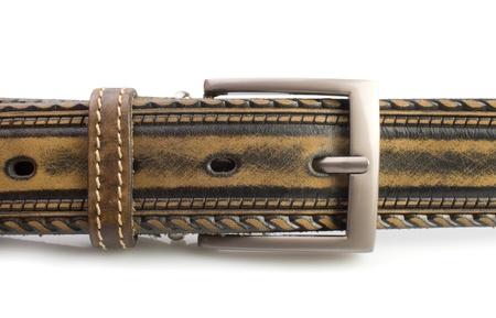 orifice: Leather belt and fastener on white background Stock Photo