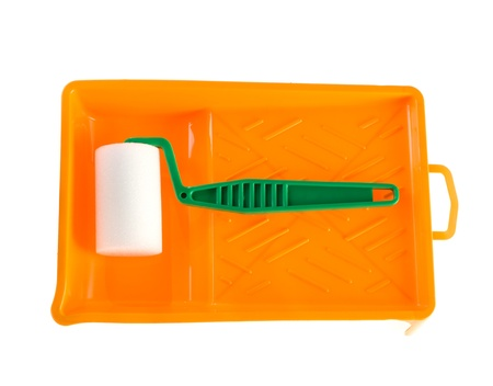 paintroller: Paint-roller and tray on a white background