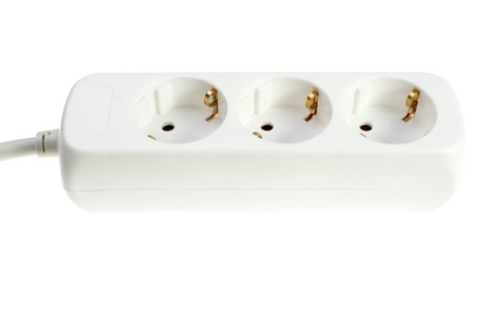 Multiple socket outlet isolated on white background.  photo