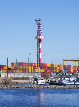 Container terminal in port  Kronstadt,St  Petersburg,Russia