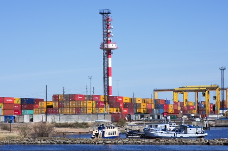 Container terminal in port  Kronstadt,St  Petersburg,Russia