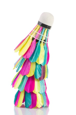 Colorful shuttlecock  on white background Stock Photo - 13950266