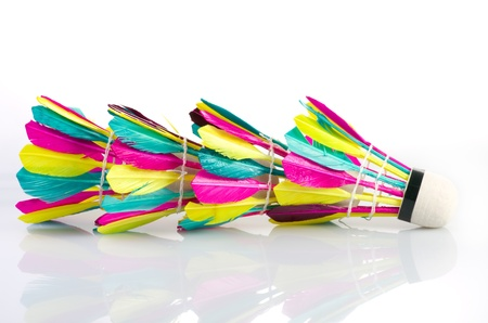 Colorful shuttlecock  on white background photo