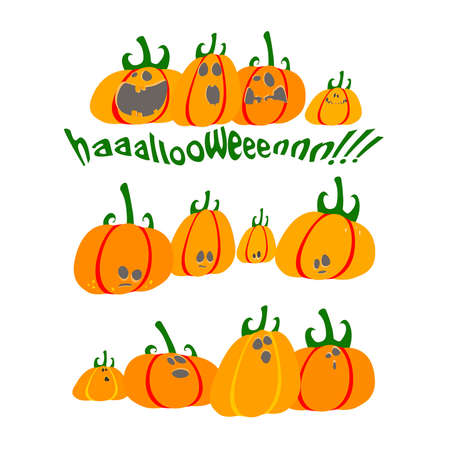 scared pumpkins Vector