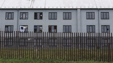 detention: Vysni Lhota, CZECH REPUBLIC - OCTOBER 18, 2015: The building and nearby detention camp for refugees, Immigrants in Vyn Lhota, shelves patrol, restriction of liberty. east Czech Republic, Europe, EU