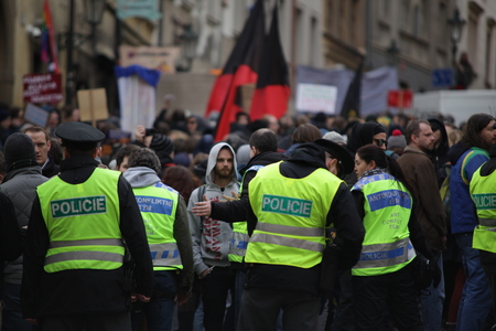 PRAGUE, CZECH REPUBLIC, FEBRUARY 6, 2016 Demonstration against Islam and immigrants, refugees in Prague, police oversees the demonstration, Central Bohemia, Europe, EU Redakční