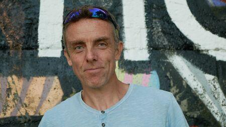 OLOMOUC, CZECH REPUBLIC, SEPTEMBER 22, 2019: Michael Esson artisan portrait of a fine art, painter and collage artist celebrity, member Extinction Rebellion Archivio Fotografico - 131611733