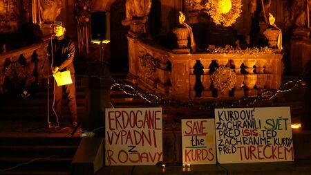 PRAGUE, CZECH REPUBLIC, OCTOBER 17, 2019: Demonstration people Jakub Stacke against Turkey banners flag sign Erdogan get out of Rojava, save the Kurds, Kurds saved the world Archivio Fotografico - 132990159