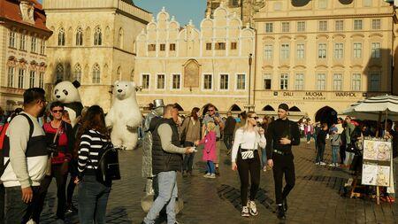 PRAGUE, CZECH REPUBLIC, SEPTEMBER 9, 2019: Old Town Square or Staromestske namesti historic square in Prague Czech Republic UNESCO, People tourists house of artists Dali, Mucha Archivio Fotografico - 132990276
