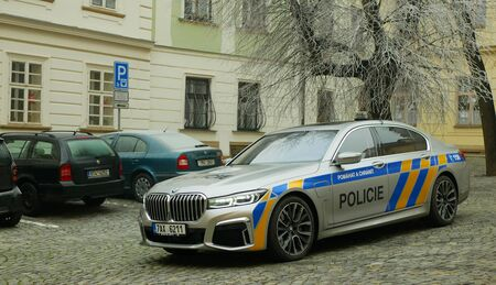 OLOMOUC, CZECH REPUBLIC, JANUARY 3, 2019: Police car BMW 745Le combines three-liter turbocharged six-cylinder petrol engine with electric motor and external rechargeable batteries, hybrid vehicle