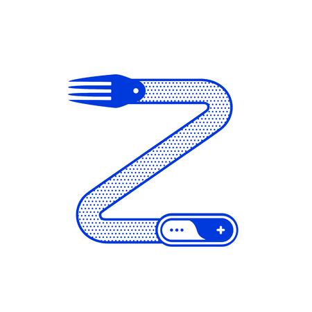 Lettre Z avec fourche dans la conception du contour minimal. Illustration vectorielle pour votre application ou restaurant